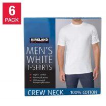 Kirkland Signature Men's Crew Neck T-Shirt, White, 6-Pack, 100% Cotton