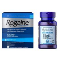 Rogaine Topical Solution 5% Hair Loss 3 Month + Biotin 10,000 mcg 100 Tablets