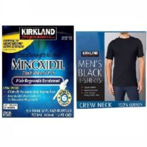 Kirkland Minoxidil 5% Hair Regrowth 6 Month Supply + Kirkland Signature 100% Cotton T-Shirt Combo